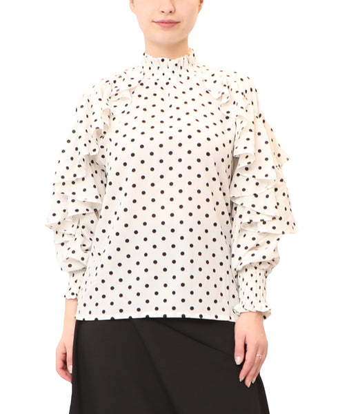 Polka Dot Blouse w/ Ruffle Detail on Arms