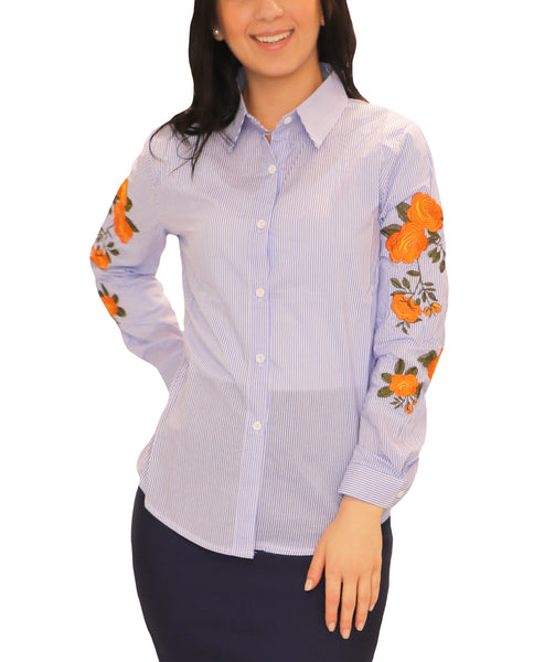 Stripe Shirt w/ Floral Embroidery