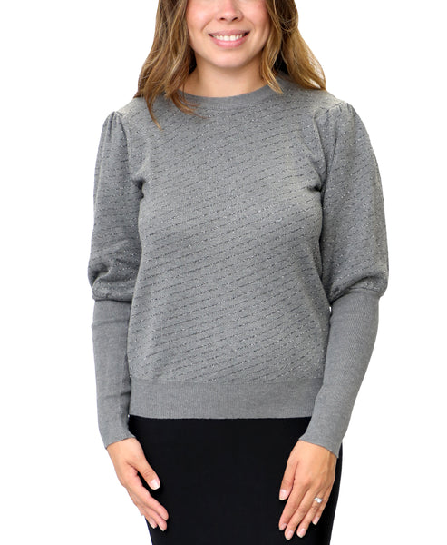 Zoom view for Puff Sleeve Sweater w/ Shimmer Stripes