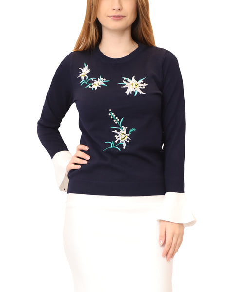 Lightweight Sweater w/ Embroidered Flowers & Pearls