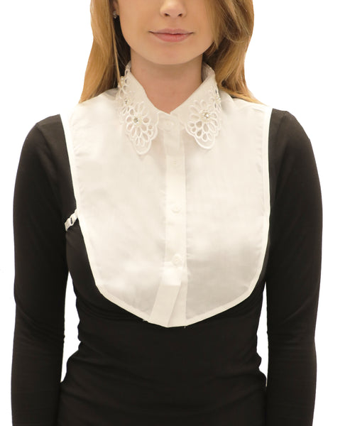Scalloped Organza Collar Dickie w/ Embellishments
