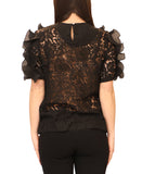 Lace Top w/ Pleated Ruffles