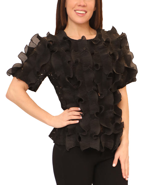 Zoom view for Lace Top w/ Pleated Ruffles