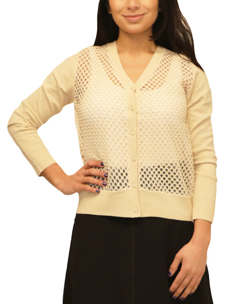 Cardigan Sweater w/ Mesh Net Front - Fox's
