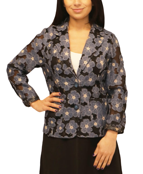 Zoom view for Mesh Blazer w/ Denim Flowers