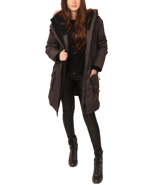 Down Parka Coat w/ Fur Trim - Fox's