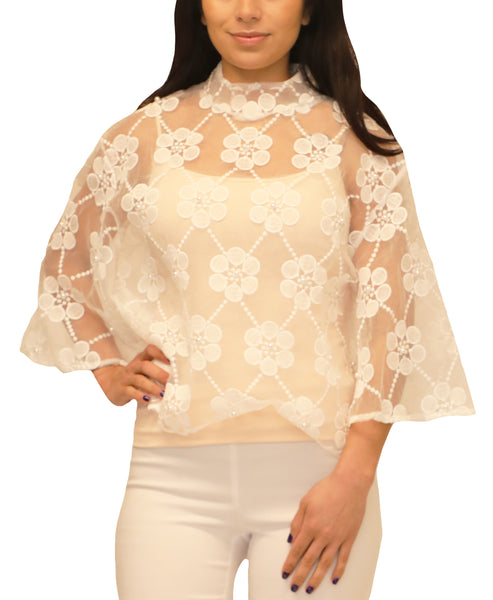Zoom view for Organza Blouse w/ Embroidery & Pearls