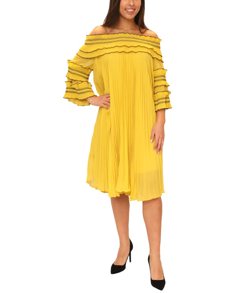 Zoom view for Off The Shoulder Pleated Dress