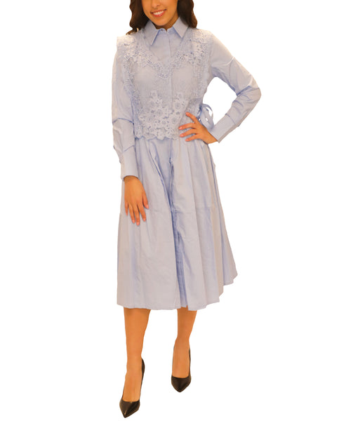 Zoom view for Fit & Flare Shirt Dress w/ Lace Vest- 2 Pc. Set