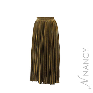 Lame Pleated Long Skirt