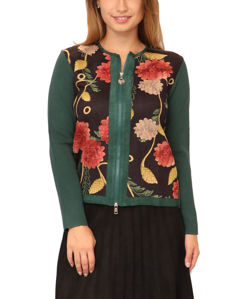 Floral Zip Front Sweater - Fox's