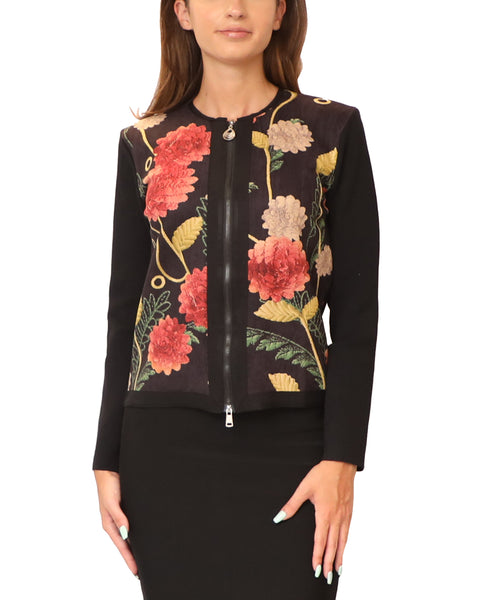 Floral Zip Front Sweater