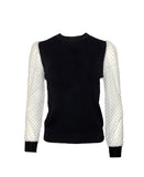 Top w/ Mesh Polka Dot Sleeves