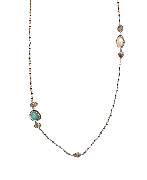Reversable Station Necklace With Turquoise And Pearl