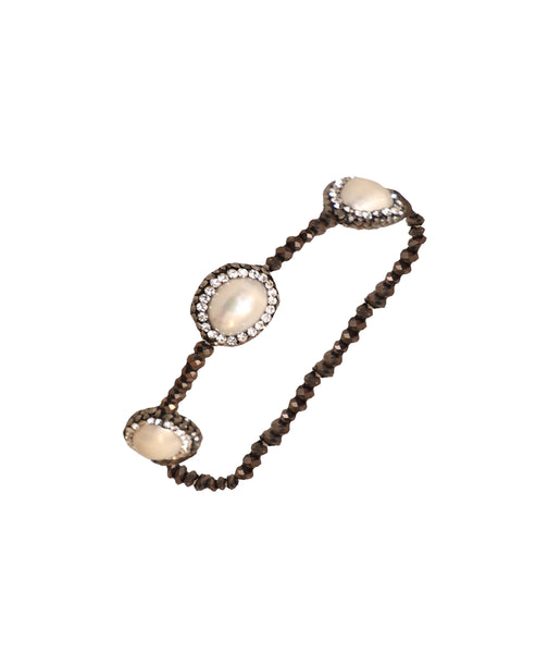 Crystal Fresh Water Pearl Stretch Bracelet