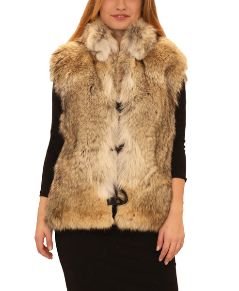 Coyote Fur Vest w/ Leather Side Straps