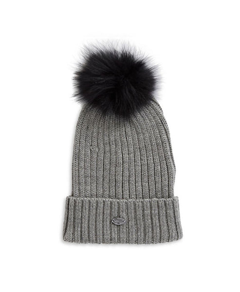 Knit Hat w/ Fox Fur Pom-Pom