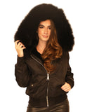 Fur Lined Hooded Bomber Jacket - Fox's