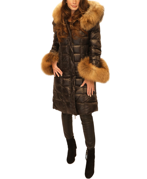 Puffer Hooded Coat w/ Fur Trim - Fox's