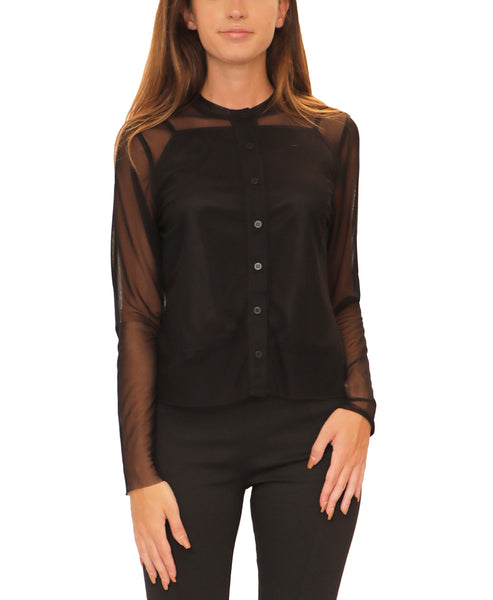 Button Front Mesh Top