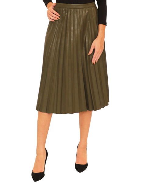 Faux Leather Pleated Skirt - Fox's