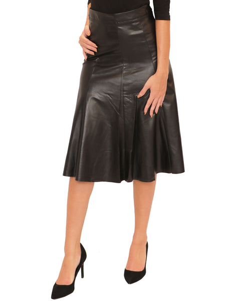 Faux Leather Raw Edge Fit & Flare Skirt