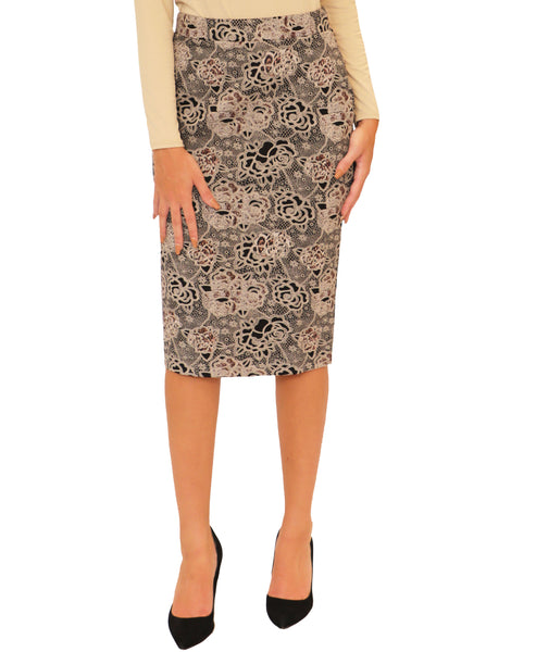 Lace & Floral Print Pencil Skirt - Fox's