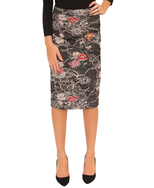 Lace & Floral Print Pencil Skirt