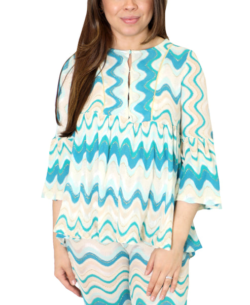 Zoom view for Bell Sleeve Chevron Print Top