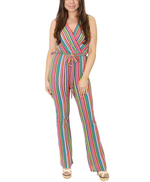 Zoom view for Striped Print Jumpsuit Cover Up