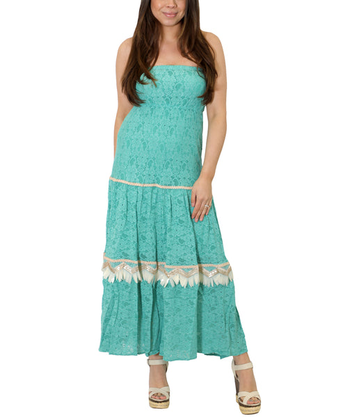 Zoom view for Strapless Lace Maxi Dress