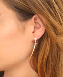 14K Gold Diamonds & Pearl Bar Earrings - Fox's