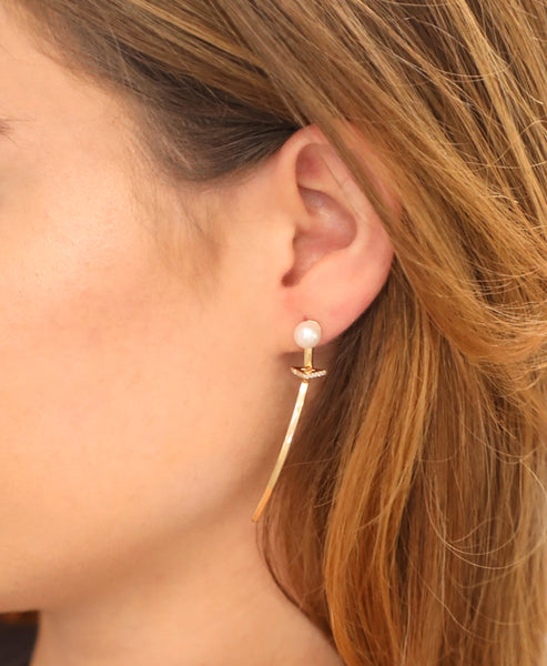 14K Gold Diamonds & Pearl Bar Earrings
