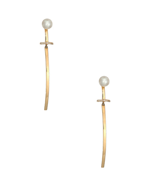 Zoom view for 14K Gold Diamonds & Pearl Bar Earrings A