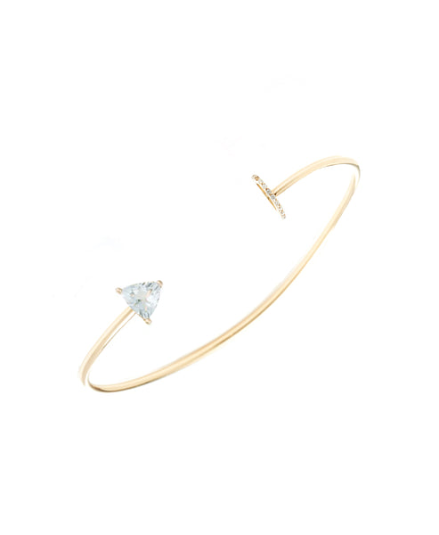 14K Gold Open Cuff Bracelet w/ Diamonds & Aquamarine