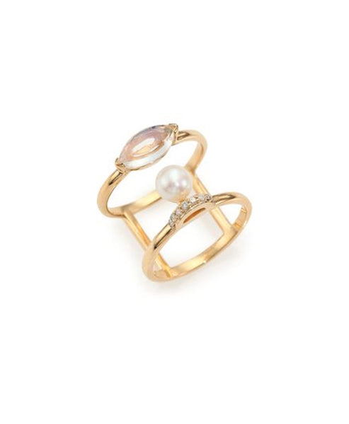 14K Gold Ring w/ Diamonds, Pearl and Moonstone
