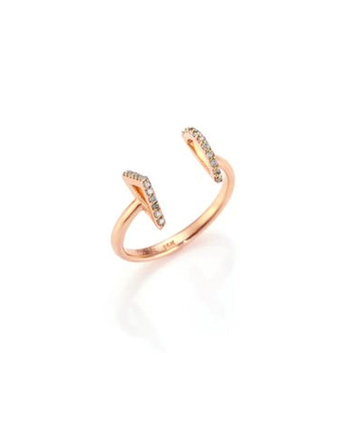 14K Rose Gold Open Ring w/ Diamonds