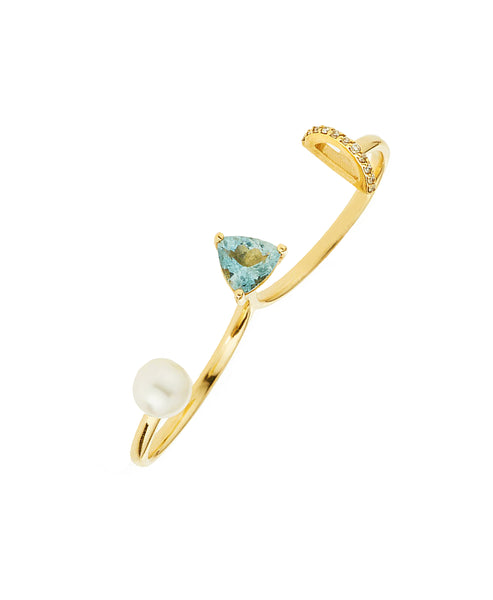 Zoom view for 14K Gold Double Ring w/ Diamonds & Opal & Labradorite