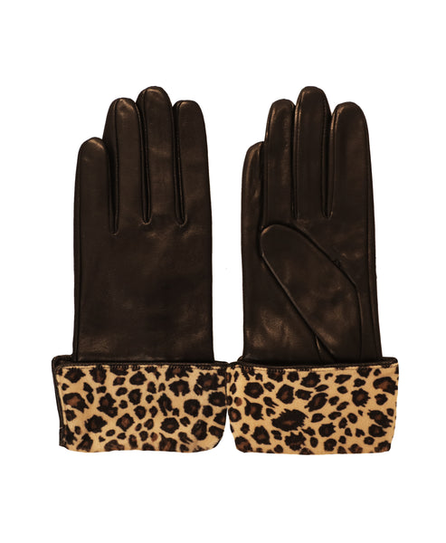 Leather Gloves w/ Leopard Cuffs - Fox's