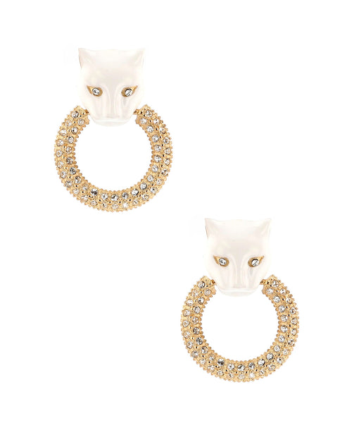 Zoom view for Panther Doorknocker Earrings