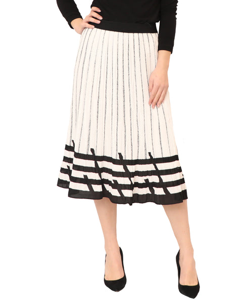 Pleated Skirt w/ Chevron Pattern