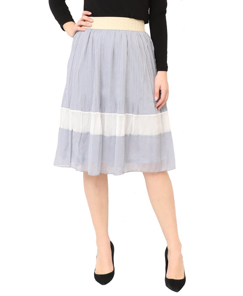 Pleated Skirt w/ Stripe
