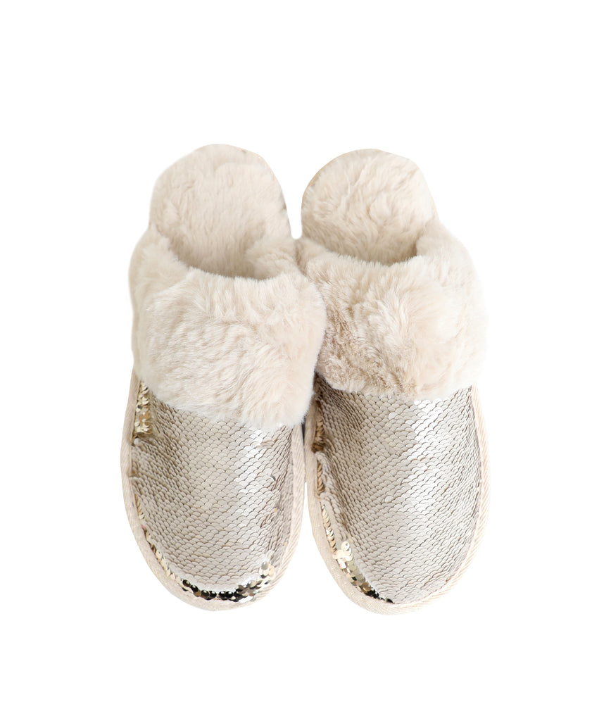 Sequin Slipper w/ Faux Fur