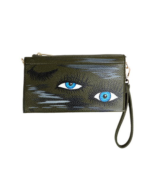 "Zoom view for Handpainted ""Eye"" Wristlet"