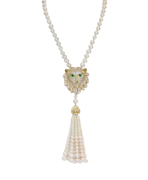 Fresh Water Pearl Necklace w/ Lion Pendant