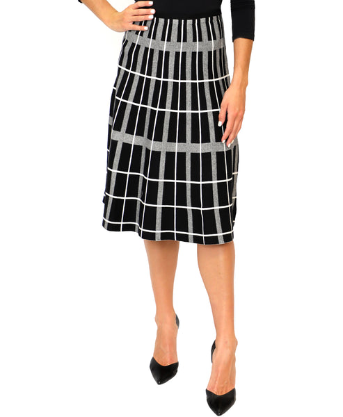 Zoom view for Knit Plaid A-Line Skirt