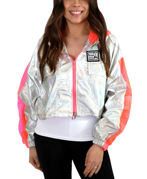 Zoom view for Iridescent Crop Hooded Jacket