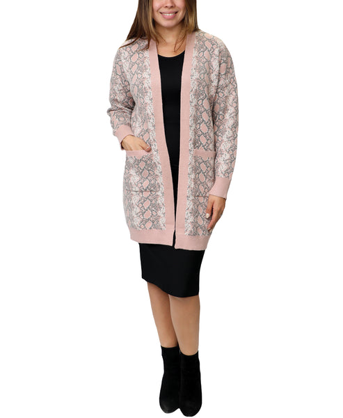 Zoom view for Snake Print Long Cardigan Sweater