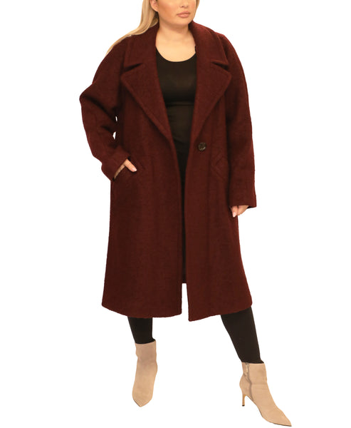 Extended Size Wool Single Breasted Coat - Fox's