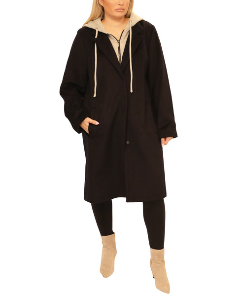 Extended Size Wool Topper Coat w/ Hood - Fox's